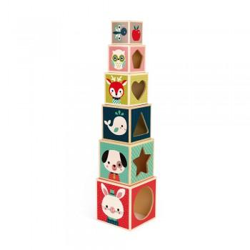 Pyramide 6 cubes en bois -...