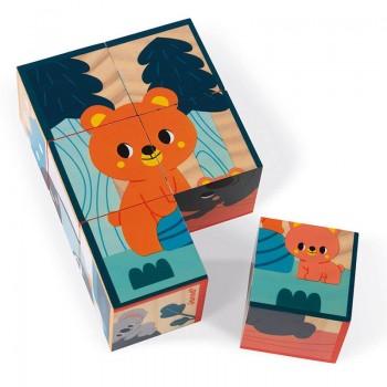 6 cubes en bois animaux WWF...