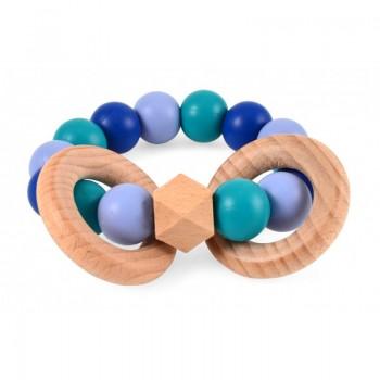 Hochet bois & silicone bleu...
